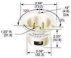 Hubbell Wiring Device-Kellems HBL2325 Flanged Inlet; 20 A; 250 VAC; L6-20P; White; Brass; Steel-Nickel Plated; - Brass Flanged Plug