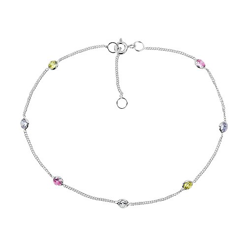 AeraVida Cute Round Multicolor Cubic Zirconia .925 Sterling Silver Link Anklet