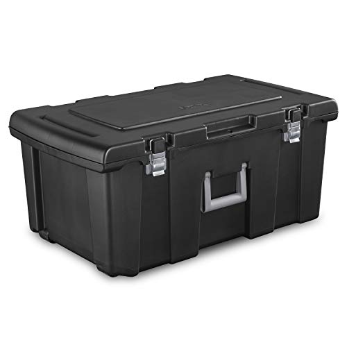 Storage Box. Wheeled Plastic Container Crate W Lid Protects From Damp, Odors, Dirt, Dust, Pests. Replaces Bin, Basket, Tube. Space Saver Footlocker Tote To Hold, Organize In Garage, Boat, Home, Office