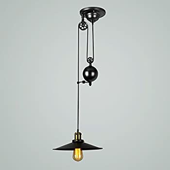 Amazon onepre vintage pulley pendant light antique industrial onepre vintage pulley pendant light antique industrial rise and fall pendant lighting black adjustable pendant ceiling mozeypictures Choice Image