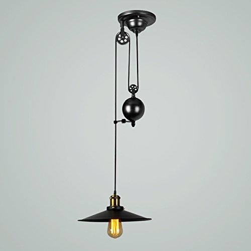 Industrial Rise And Fall Pendant Light: Onepre Vintage Pulley Pendant Light Antique Industrial
