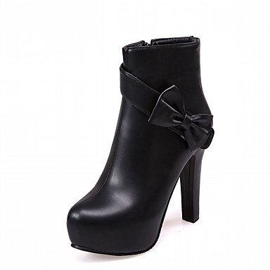 Women's Shoes PU Leatherette Fall Winter Comfort Novelty Fashion Boots Boots Chunky Heel Round Toe Booties/Ankle Boots Bowknot For Party Black CGYemglzS