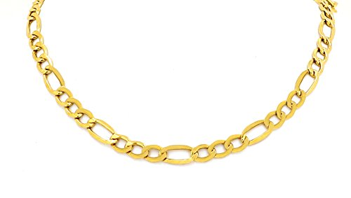 "Yellow Gold Hollow Figaro Chain Real 10K Necklace 18"" to 24"", 3.5MM (22 Inches)"