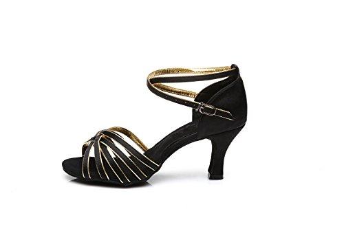 Tanzschuhe weicher Weiblicher 7cm Latin weiblichem Schwarzgold Schuh Latin Höhe mit mit Tanzschuhe Erwachsener Boden ShangYi Tanzschuhe TgHaqwgP