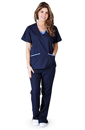 - Natural Uniforms Women's Contrast Jersey Scrub Set (Navy Blue) (Medium)