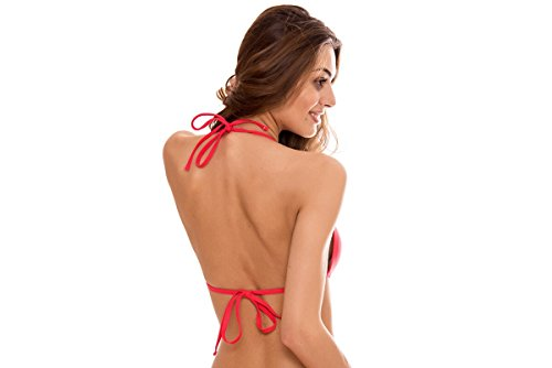 Donna Relleciga Morbido Laccetti Triangolo Push Up A Costume Con Rosso Top 75xr7q