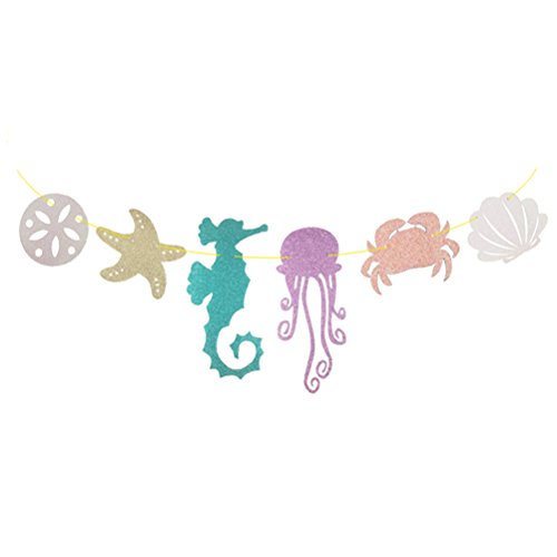 (Seashell Banner Seahorse Jellyfish Seashell Crab Sea Star Glitter Banner for for Kid Birthday Party Decoration)