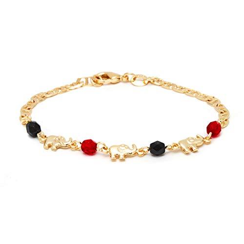 Barzel 18K Gold Plated Elephant Bracelets (Many Different Elephant Options) (Black & Red ANK112-7.5)