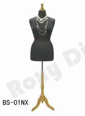 Size 14-16 Black Female Dress Form Mannequin Plus Size 42 32 44 with Wooden Base /& Cap JF-F14//16BK+BS-01NX