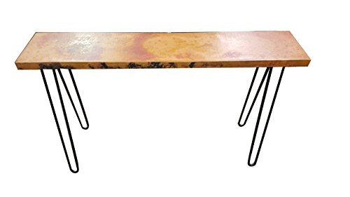 49 Inch Natural Hand Hammered 100% Copper Entry Way Table Top With Hairpin Legs Sealed For Extra Long (Copper Sofa Table)