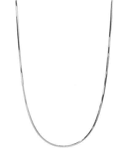 Pori Jewelers 925 Sterling Silver 1MM Magic 8 Sided Italian Snake Chain - for Women (Silver, 30)