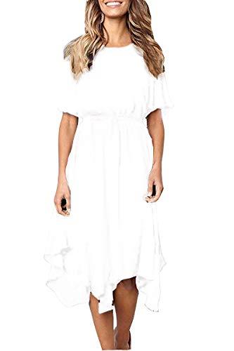 Alaster Queen Women's Chiffon Short Sleeve Casual Midi Dress EmpireWaist Irregular Hem Summer Dress (White, ()