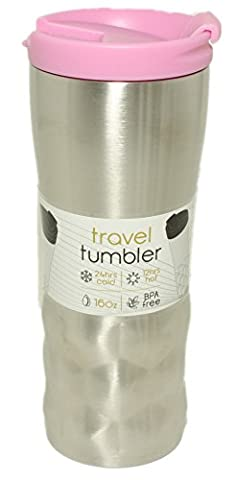 Silver One 16 oz Stainless Steel Tumbler Vacuum Insulated Portable Travel Mug - Coffee Cup | Leak/Sweat/Spill-Proof Double Wall | Keeps Drinks Hot and Cold for Gym, Hiking, Camping (BPA - Silver Travel Tumbler