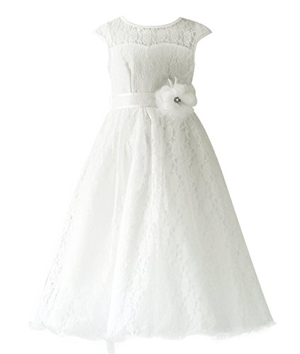 ivory a line flower girl dress - 8