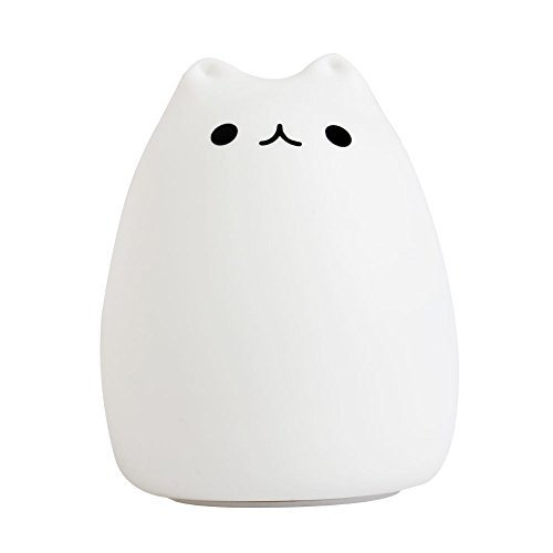 Price comparison product image LIYUDL Silicone Cat LED Children Animal Night Light,7-Color Breathing Dual Light Modes, USB Rechargeable Lighting,Soft Cartoon Baby Nursery Lamp