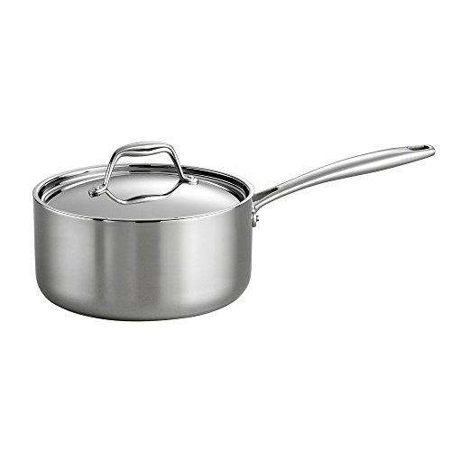 Tramontina 80116/022DS Gourmet 18/10 Stainless Steel Induction-Ready Tri-Ply Clad Covered Sauce Pan, 2-Quart, Stainless