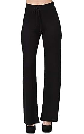 2LUV Women's Trendy Stretch Knit Sweatpants W/ Drawstring Waist Black S (JP13434)