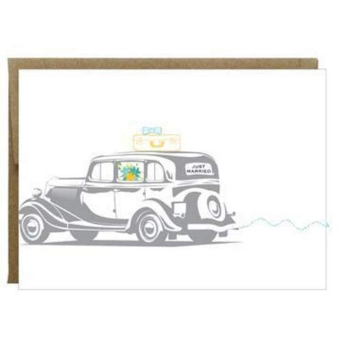 Just Married Vintage Car Greeting Card with Sewn Paper