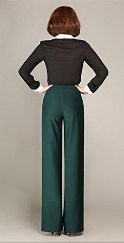 Lixmee Mujer Cintura Alta Color Sólido Loose Amplia Pierna Pantalones _01 Green