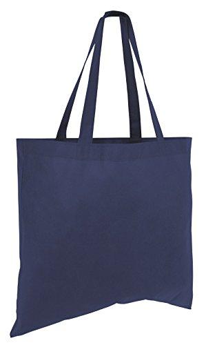 Reusable Promo Totes Recyclable Non-Woven Polypropylene Bags (50, Navy) ()