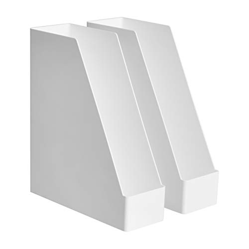 AmazonBasics Plastic Organizer - Magazine Rack, White, 2-Pack (Plastic Magazine Organizer)