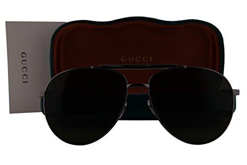Gucci GG0014S Sunglasses Dark Gray w/Green Lens 003 GG - Shades Sale Gucci