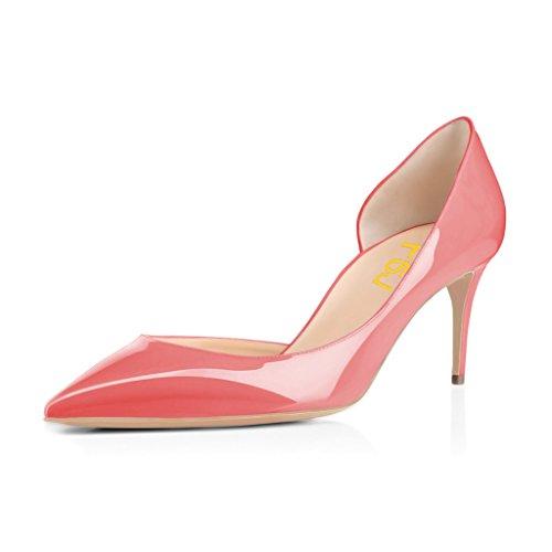 Fsj Vrouwen Elegante Dorsay Pumps Lakleer Puntschoen Dia Hakken Feestjurk Schoenen Maat 4-15 Ons Koraal