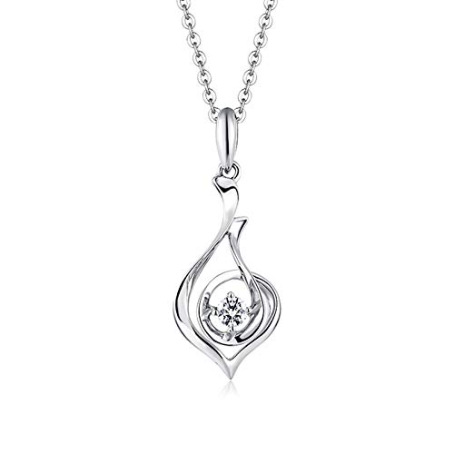 Beydodo 18k White Gold Necklace Diamond Hollow Teardrop Pendant with Diamond Valentines Day Necklace
