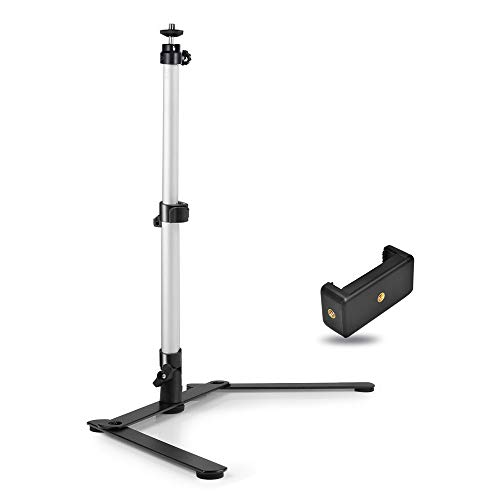 UTEBIT Photo Copy Stand Macro Camera Table Top Monopod Stand with 360 Degree Swivel Ball Head Mount & Cellphone Clamp for DSLR Video Photography