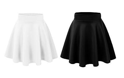 TZSJGL Basic Solid Stretchy Pleated Skirt Flared Casual Mini Skater Skirt for Women