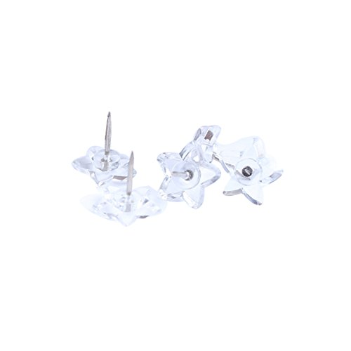 Cute Creative Star Shape Heart Shape Pushpins Drawing Pins Thumbtacks 50PCS (Transparent Star) ()