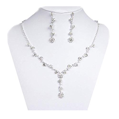 UDORA Sliver Flower Necklace Earrings Jewelry Sets for Wedding Bridal Party ()
