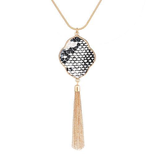 PHALIN Long Necklace for Women Leopard Quatrefoil Pendant Necklace Bohemia Fringe Tassel Necklaces Y Chain Necklace Fashion Jewelry (B Gold-White)