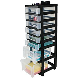 Office Depot Medium Plastic Storage Tower Cart, 8 Drawers, 41 4/5in.H x 12 1/10in.W x 14 2/5in.D, Black, 116816 by Office Depot