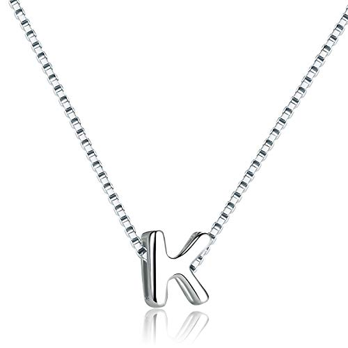 SIMPLOVE Letter K Necklace 925 Sterling Silver A-Z Letter Initial Dangle Choker Necklace Personalized DIY Tiny Dainty Alphabet Name Jewelry for Women Girlfriend Gift