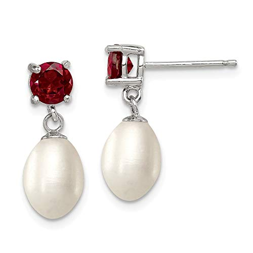 925 Sterling Silver Red Garnet 8mm Freshwater Cultured Pearl Teardrop Post Stud Earrings Drop Dangle Fine Jewelry Gifts For Women For Her ()
