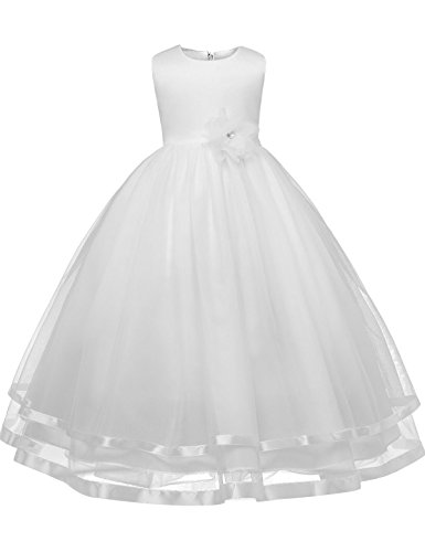NNJXD Girl Sleeveless Chiffon Long Tail Wedding Tutu Flower Dress Size 5-6 Years White