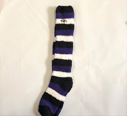 Baltimore Ravens Zebra Stripe Women's Fuzzy Sleep Sock