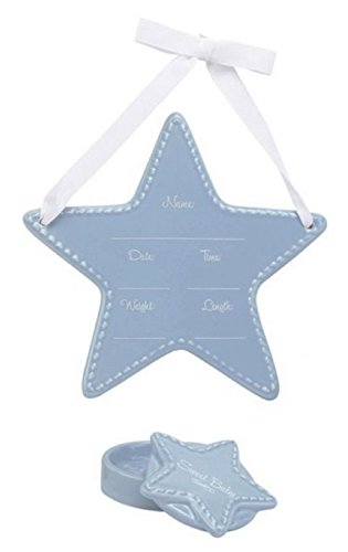 C.R. Gibson Stepping Stones Ceramic Keepsake Gift Set, Blue Star