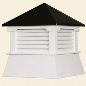 "21"" Vinyl Shed Cupola with Black Aluminum Roof"