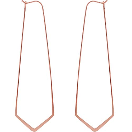 Geometric Chevron Threader Hoop Earrings - Hypoallergenic Lightweight Cutout Thin Wire Drop Dangles, 18K Rose - 3 inch, Pink Gold-Electroplated, Hypoallergenic, by Humble Chic NY