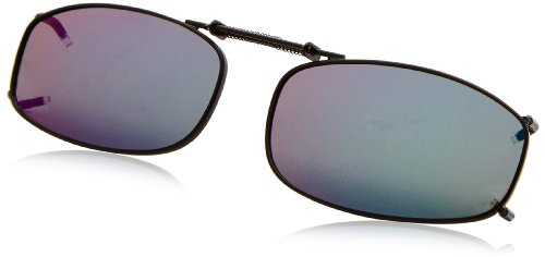 Solar Shield Clipon Rectangular 4 48 Polarized Sunglasses,Black,48 mm