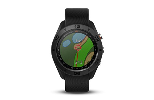 Garmin Approach S60 GPS golf watch with black leather band, 1.2″