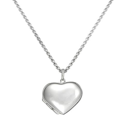 (jewellerybox Large 925 Real Sterling Silver Puffed Heart Locket Pendant on Chain - 16 Inches)