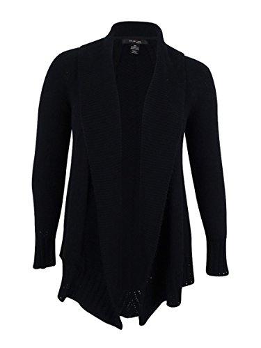lus Knit Shawl Collar Cardigan Sweater Black 3X (Co Shawl Collar)