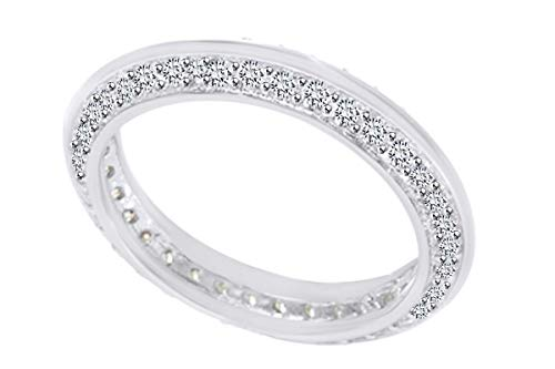 (AFFY Round Cut White Cubic Zirconia Knife Edge Eternity Engagement Ring in 10k Solid White Gold Ring Size-10.5)