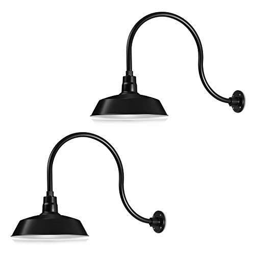 14in. Satin Black Outdoor Gooseneck Barn Light Fixture With 24in. Long Extension Arm - Wall Sconce Farmhouse, Antique Style - UL Listed - 9W 900lm A19 LED Bulb (5000K Cool White) - 2-Pack