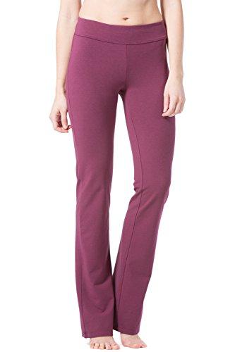 Regular Rise Bootcut Legging - Fishers Finery Women's Bootleg Yoga Pant; Athletic; Back Pockets (Wine, L)