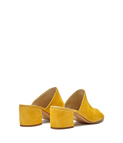 PoiLei Women's Shoes Mules Coco Leather Yellow with Block Heel -Made in Italy- 8rtbElGzc