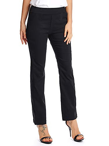 (Women's Comfy Stretch Pull on Bootcut Dress Pants Office Work Trousers Black Tag)